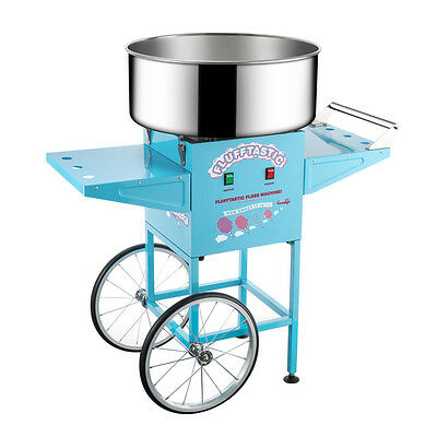 Commercial Blue Carnival Electric Cotton Candy Machine Floss Maker With Cart