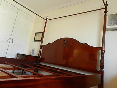 King Size Antique Solid Mahogany Bed with Posts