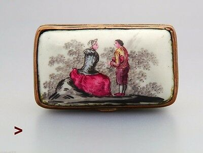 1760 Antique Prussian Box The Armless Maiden German Painted Enamel on Copper Box