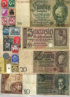 Nazi Germany Banknote, Coin And Stamp Set  # 41
