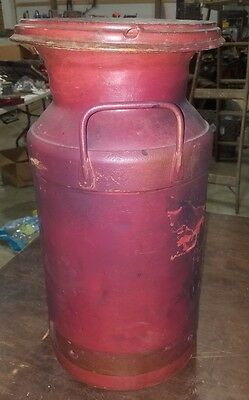 Vintage 10 gallon milk can with lid red metal bottom drain spout