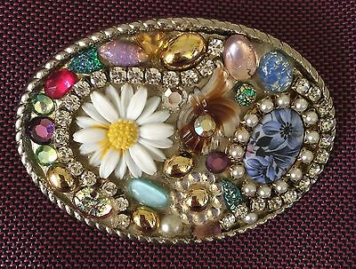 Hippie Chic Handmade Jeweled Belt Buckle~Rhinestones, Pearls and More~OVAL