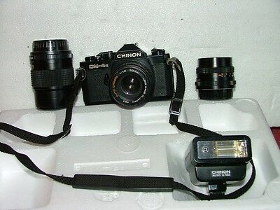 Vintage Chinon CM-4S Camera with 28 MM, 50 MM , 135 MM Lens,  Bag & Flash