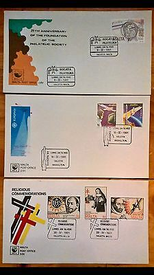 3 X Malta 1991 First Day Covers Near Perfect, 25th Ann Philatelic Society FDC