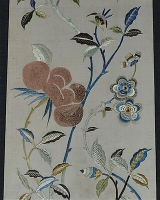 Fine Antique Chinese Embroidery Silk Panel Textile Flowers Framed