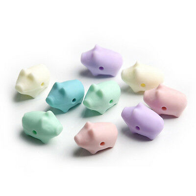10Pcs Silicone Beads Cute Pig DIY Jewelry Food Grade Baby Teether BPA Free