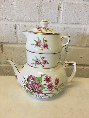Vintage Hammersley English Porcelain Stacked Teapot w/ Creamer & Sugar Dish