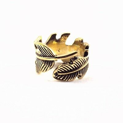 Hot Punk Vintage Retro Bronze Women Alloy Feather Leaf Ring Jewelry Gift