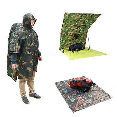 Outdoor US Army Hooded Raincoat Poncho Tarp Cape Military Hunting Camping Hiking