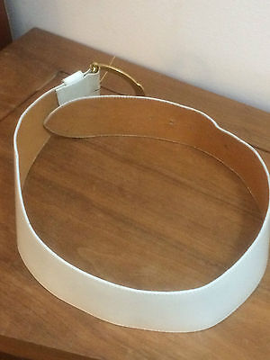 "Vintage Christian DIOR White Extra-Wide (2.1/2"") Genuine Leather Belt"
