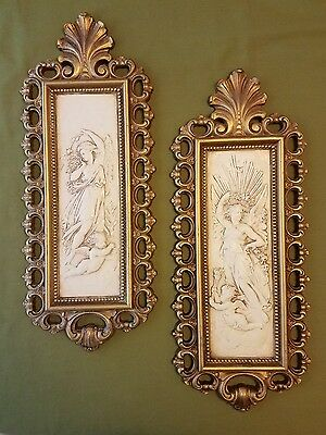 Vintage set of angel wall plaques, 1971 HOMCO gold tone