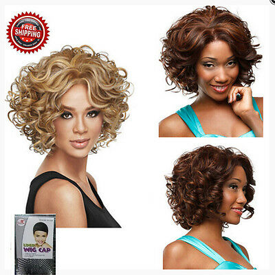 Afro Short Curly Mixed Color Ladies Fashion Synthetic Hair Wigs With Free Cap AU