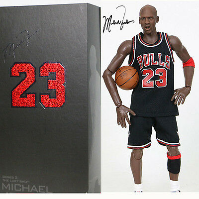 NBA Real Masterpiece Michael Jordan 23 Black Jersey 1/6 Action Figure New In Box