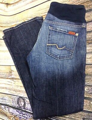 7 For All Mankind Womens 30 Maternity Boot Cut Jeans Distressed Pea in the Pod