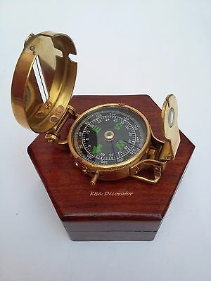 Solid Brass Nautical British Military Compass  Lensatic Pocket Compass With Box