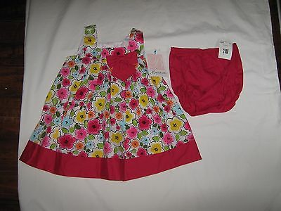 NWT Bonnie Baby Girls Size 24 months Pink Floral Dress with Diaper Cover