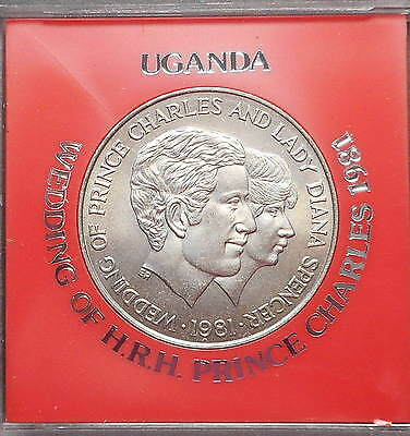Uganda 1981 Charles & Di Wedding 10 Shilling UNC Coin Crown size