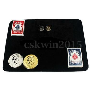 Black Magicians Mat Pad Close-Up Poker Coin Magic Prop For Performance 41X29.5cm