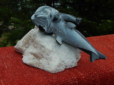 Inuit Art soapstone and marble carving Sculpture Of a SEDNA, Signed Koonloosie