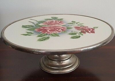 Vintage Silver Plate / Chrome & Porcelain Cake Plate - Roses