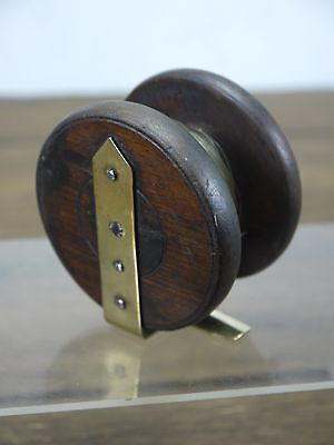 "Small Antique Mahogany 3"" Fishing Reel For Restoration"