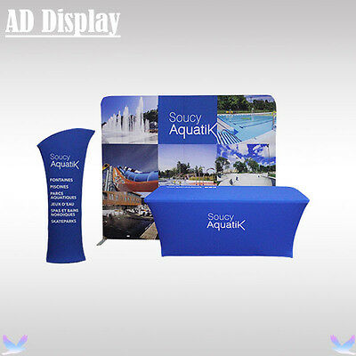 10ft Straight Tension Fabric Wall With 6ft Table Cover Printing And Tower Banner