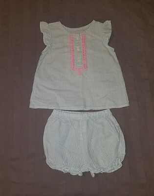 EUC Carters Baby Girl Clothes 12 Months Two Piece Shirt Bloomer Shorts Outfit