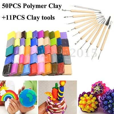50 Colour DIY Malleable Fimo Polymer Clay Modelling Blocks + 11 Clay Tool Set