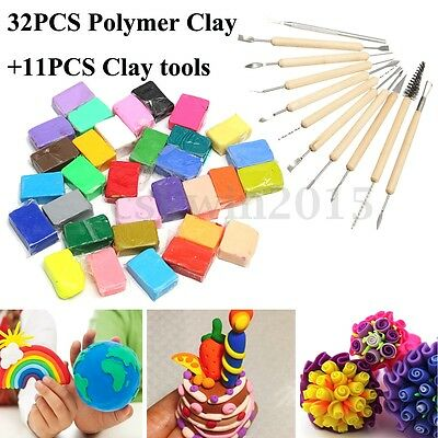 32 Colour DIY Malleable Fimo Polymer Clay Blocks Modelling + 11 Clay Tool Set