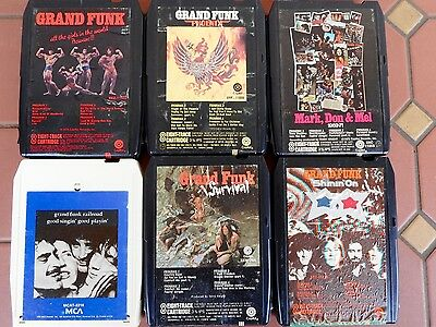 6 x Various Assorted Grand Funk 8 Track Tapes/Cartridges Pheonix, Survival
