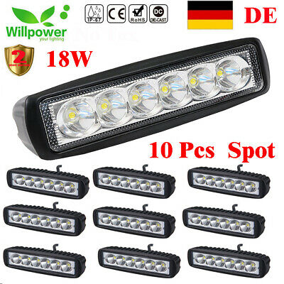 10X 18W 6inch Spot LED Work Light Bar Driving Lamp 4WD SUV Truck UTE Offroad ATV