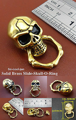 【C06】Solid Brass Slide-Skull-O-Ring Wallet Chain Connector Jointpart Conchos NEW