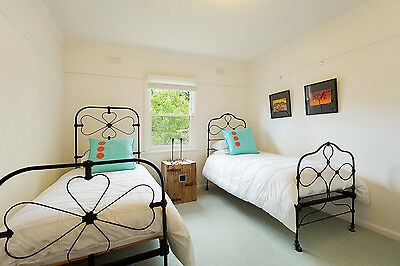 Vintage Antique Wrought Iron Single Bed with Mattress and Linen