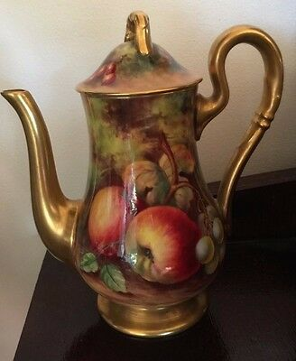 Royal Worcester Hand Painted Fruit Tea & Coffee Pot Signed Edward Townsend