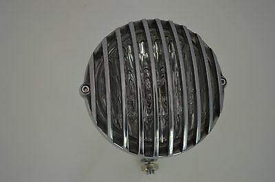 """5"""" Grille Solid Billet Aluminium Bottom Mount Polished Motorcycle Headlight"""