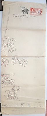 """India 1939 hand drawn street map with Bhartpur State Court Fee stamp 11.5""""x30.5"""""""