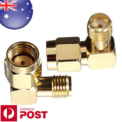 Brass RP-SMA Male Plug To SMA Female Jack Right Angle Crimp RF Connector Z126