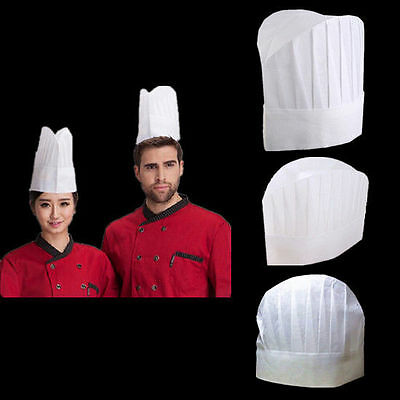 5 PC Men New Kitchen Chef Catering Elastic Cap White Hat Baker Non-woven Hot