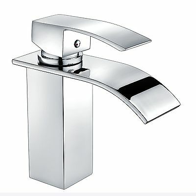 Square Waterfall Faucet Bath Vanity Sink Basin Mixer Tap Brass Chrome Bathroom
