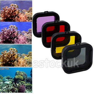 4PCS Underwater Diving  Lens Filter Purple Red Yellow Grey  For Gopro HERO3 4 US