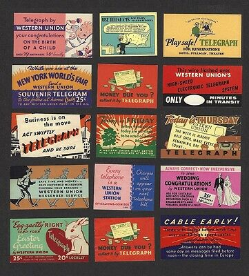 Western Union labels – a collection of 59 different