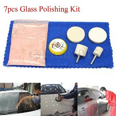 7pcs 70g Cerium Oxide Windscreen Scratch Remover Glass Polishing Kit 2'' Pad