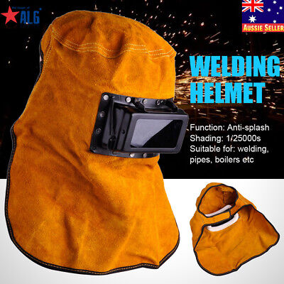 Leather Hood Welding Helmet Mask Solar Auto Darkening Filter Lens Welder