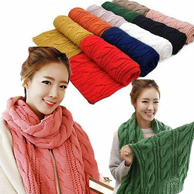 Women Wrap Scarf  New Long Shawl  Cable Knit  1pcs Cowl Neck  Infinity Circle
