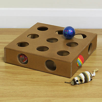 Wooden Interactive Peek & Play Cat/Kitten/Kitty Play Box Activity with 4 Toys