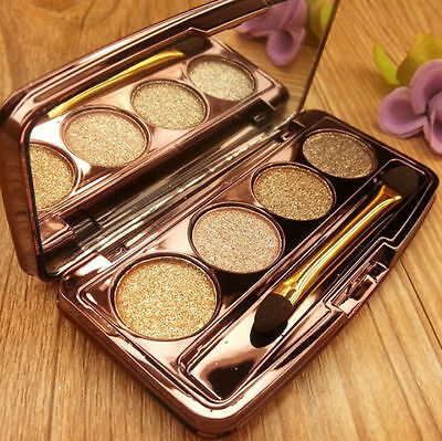 Shimmer Beauty Warm Makeup Eye Shadow 4 Colours Glitter Palette Smoky Eyeshadow