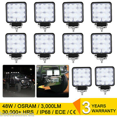 10x 48W LED Work Light Worklight Offroad Car Driving Lamp Boat ATV SUV 12V 4WD