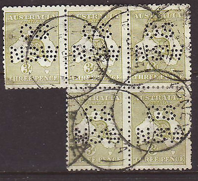 "First wmk 1913 3d olive block of 5 perforated ""OS NSW"" used"