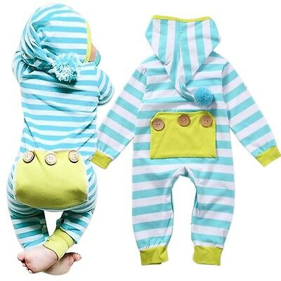 0-18M Newborn Infant Baby Boys Girls Hooded Romper Bodysuit Jumpsuit Outfits New