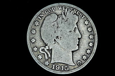 1915-P Barber Half Dollar 50C Fifty Cents VG+ Silver Coin KEY DATE!! RARE! H5